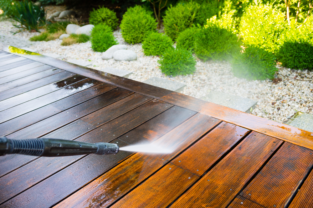 Deck refinishing, power washing deck, deck restoration