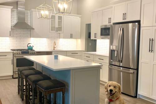 A photo of a complete kitchen renovation. We're experienced with kitchen remodels of all sizes, large and small.